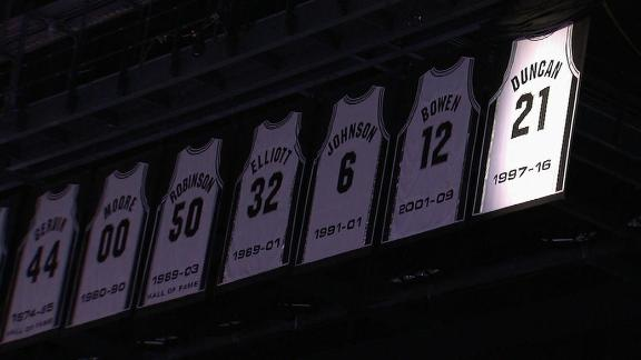 Spurs honor Duncan by retiring his number