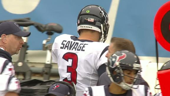 Savage exits game early in loss to Titans