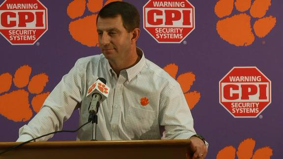 Swinney satisfied with Wilkins' apology for grabbing player