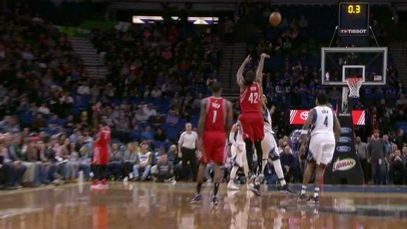 Nene hits turnaround triple to beat the buzzer