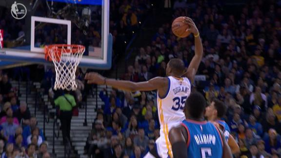 Durant pours in 40 -- on 16 shots -- in rout of Westbrook's Thunder