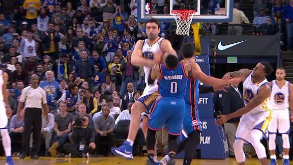 Pachulia fouls Westbrook hard, stares him down