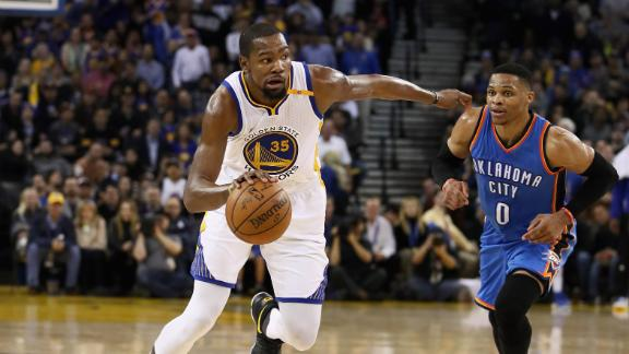 Durant's best as a Warrior lifts Golden State past triple-doubling Westbrook
