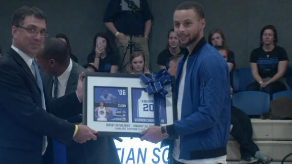 new arrival ba0ce db1b1 Curry gets his high school jersey retired