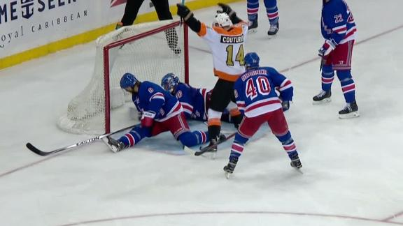 Flyers blank Rangers with two third-period goals