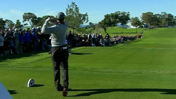 Tiger's first tee shot of Round 2 goes way right