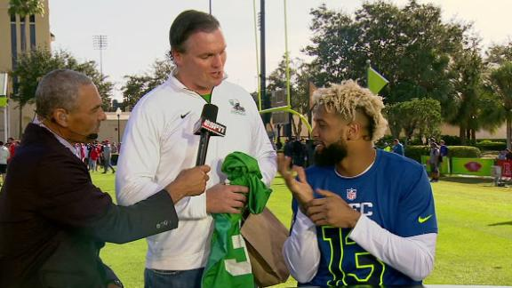 Odell surprised with his high school jersey