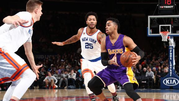 Lakers roll past listless Knicks 121-107