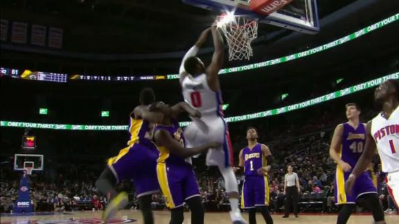Drummond's double-double powers Pistons past Lakers
