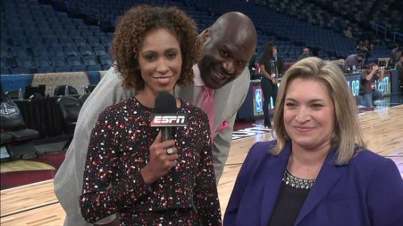 Shaq sneaks up on Sage Steele