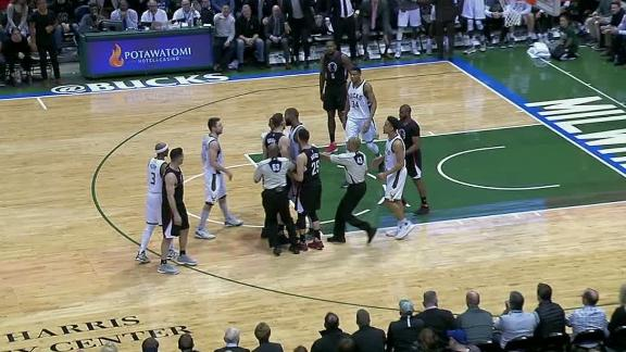 Monroe posterizes Griffin, scuffle later ensues