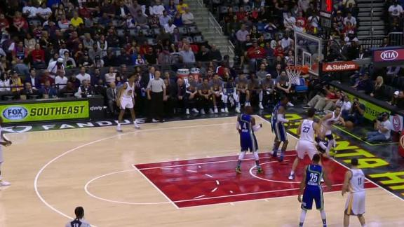 Curry assists while falling out of bounds