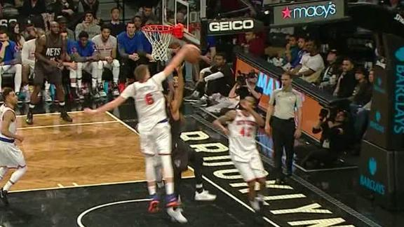 Porzingis makes big rejection, maintains control of the ball
