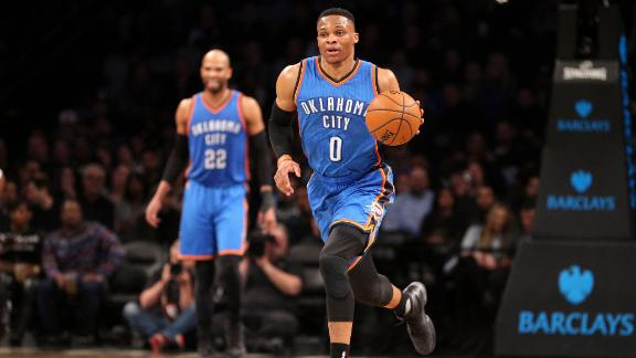 Westbrook gets 33rd triple-double of season and ovation from Barclays