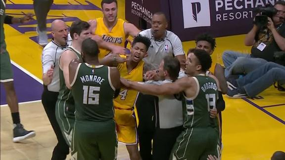 Tempers flare in Bucks' win over Lakers