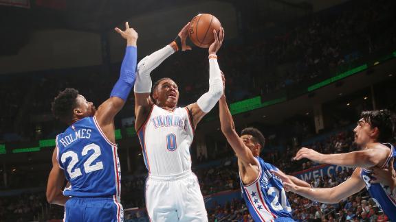 Westbrook makes history as Thunder smash 76ers