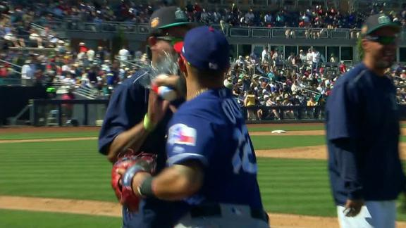 Odor tosses water at unsuspecting Hernandez