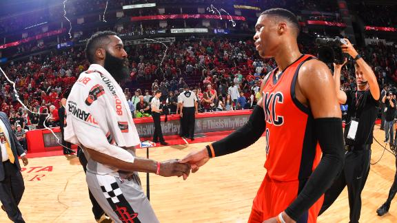 Rockets down Thunder in showdown of MVP candidates
