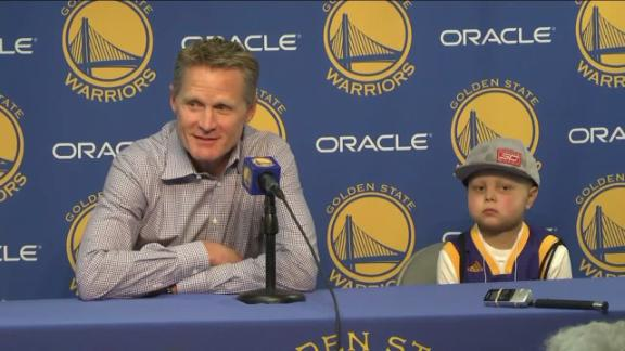 Warriors fan Brody joins Kerr at media conference