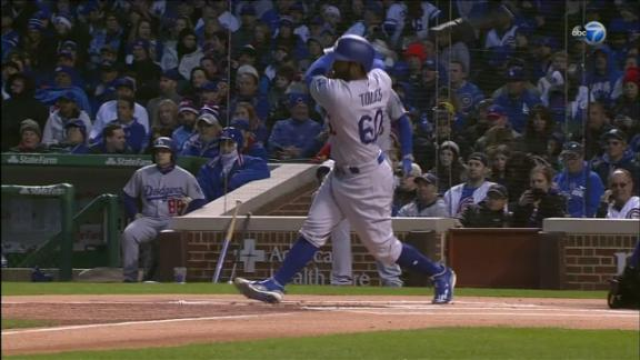 Toles takes Lackey deep with lead off home run