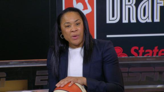 Dawn Staley advises her most recent WNBA draftees