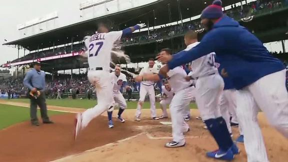 Russell caps Cubs' comeback with walk-off home run