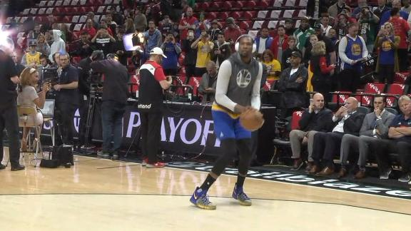 Durant warms up before Game 4