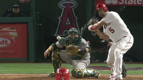Pujols drives in Trout with single