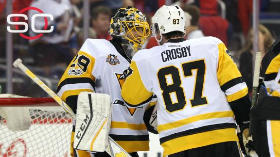 Crosby scores twice in Penguins' Game 1 win