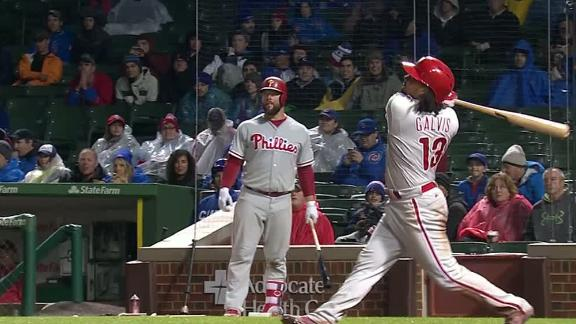 Galvis puts it in the air, fan makes fantastic catch
