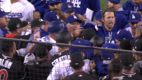 Benches clear between Marlins and Dodgers
