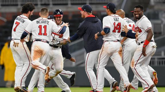 Braves walk off on Adams' single
