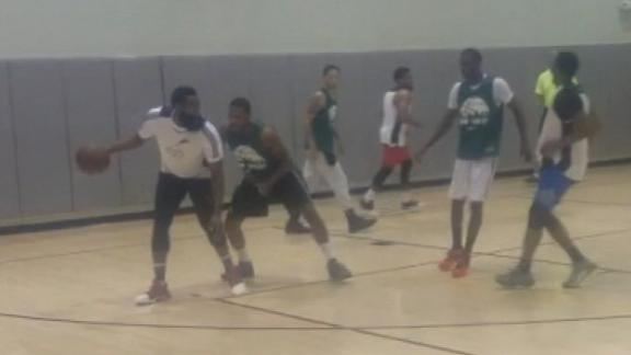 Harden showcases his moves at pickup hoops