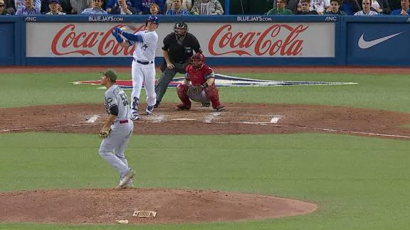 Smoak's homer just clears the wall