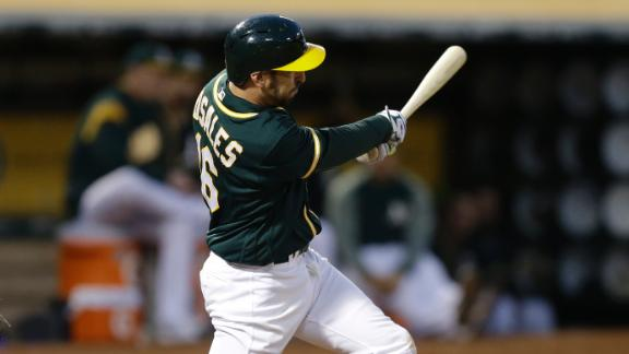 Rosales knocks in Canha to give A's the lead
