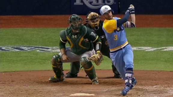 Longoria, Rays beat A's 6-5 in 10 to open doubleheader
