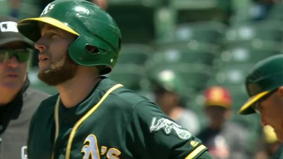 Lowrie's single scores two in win