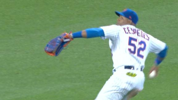 Cespedes lasers throw home for out