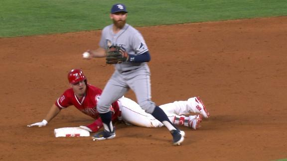 Trout steals second in return