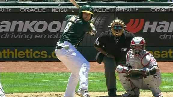 Lowrie reaches double-digit homers