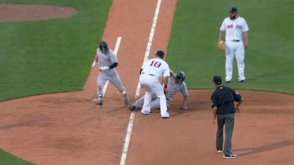 Red Sox protest odd interference play