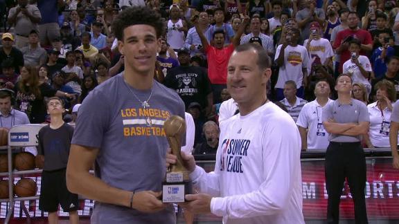 Lonzo Ball receives MVP trophy