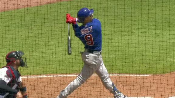 Baez clubs a 3-run HR to center