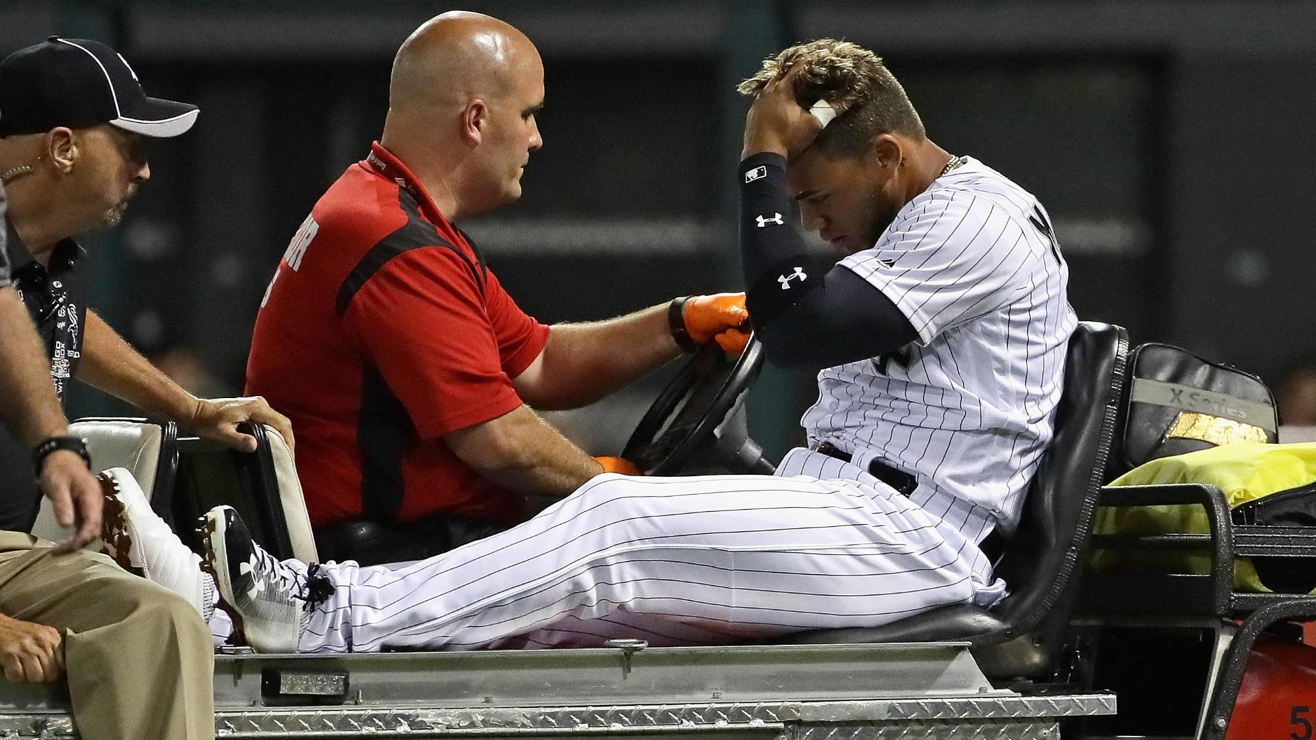 Moncada carted off after collision