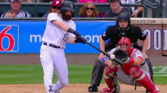 Blackmon's third double plates a run