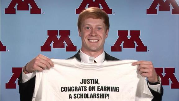 Minnesota kicker surprised with scholarship
