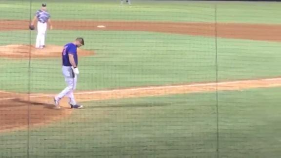 Tebow gets hit in head with a pitch