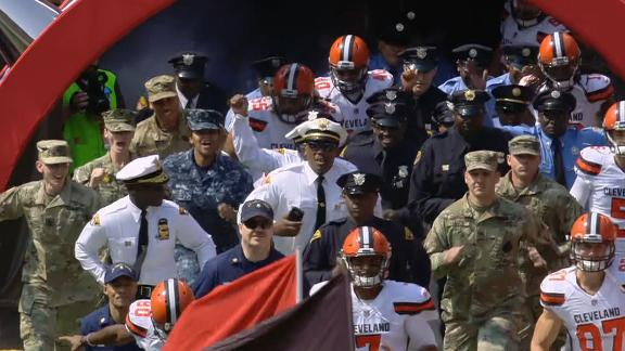 Browns take the field with first responders