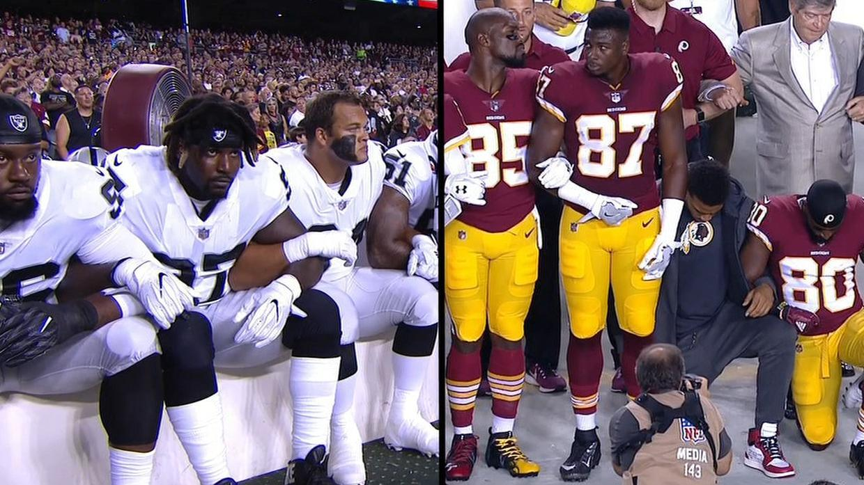 Redskins, Raiders protest during national anthem