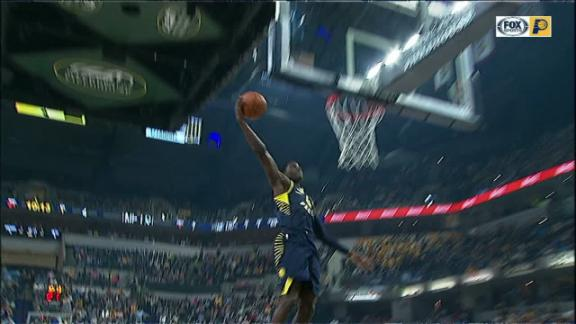 Oladipo punctuates steal with one-handed jam